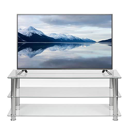 TV-Ständer aus Klarglas, 125 cm breit, für 32 42 50 55 60 Zoll LCD LED Smart Flat Screen TV