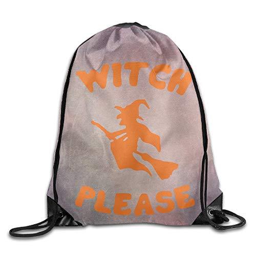 Witch Please Halloween Unisex Drawstring Backpack Travel Sports Bag Drawstring Beam Port Backpack. (Halloween Quiz Night)