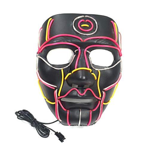Erisl Halloween-Kostüm, lustige LED-Maske mit Draht und Totenkopf-Masken, DJ-Party, Festival, Cosplay, Kostümzubehör (Lustige Pferde Maske Kostüm)