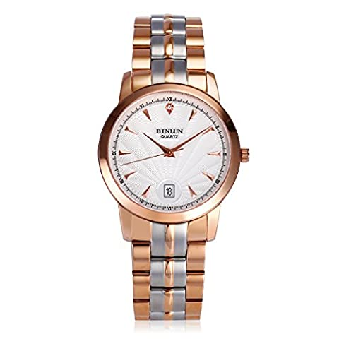 BINLUN Rose Gold Watches for Men Two Tone Stainless Steel Waterproof Calendar Date Quartz Watch