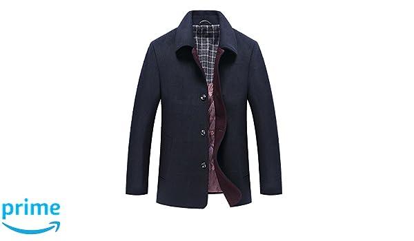 Homme Hiver Manteau Simple Trench-Coat Chaud Slim Fit Casual Veste Court en Laine  Caban Mode  Amazon.fr  Vêtements et accessoires 9afbc84cfd98