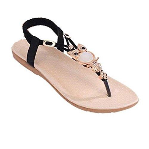 Damen Sommer Schuhe,Xinan Frauen Strass Eule süße Sandalen Klippzehesandelholze Strand-Schuhe (38, Schwarz)
