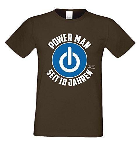 Geschenk zum 18. Geburtstag Herren T-Shirt Power Man Seit 18 Jahren Geschenkidee volljährigkeit braun_05