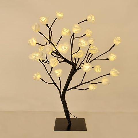 Decorative White Rose Bonsai Style Tree Light with 32 Warm White LED's - 45cm