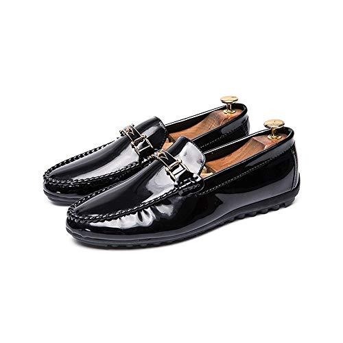 Schwarz Veloursleder-plattform-stiefel (HILOTU Männer Casual Driving Loafer Mode Oxford Metallschnalle Flache Schuhe Bequeme Slip-on-Schuhe (Color : Schwarz, Größe : 42 EU))