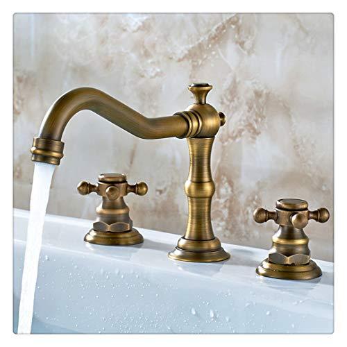 Rubinetto bagno lavabo rubinetto per cucina il miscelatore lavello per lavabo classico in ottone massiccio a 2 maniglie, ottone