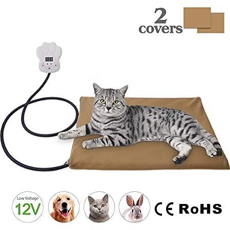 IREGRO Heizmatte Haustiere Heizkissen 15W 12V Kleinspannung mehr sicher Temperatur Einstellbar zwischen 25℃-55℃ Wärmematte Heizdecke für Katzen und Hunde