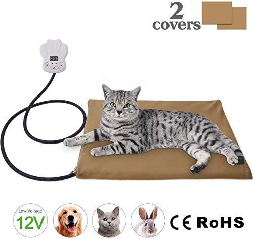 IREGRO Heizmatte Haustiere Heizkissen 15W 12V Kleinspannung mehr sicher Temperatur Einstellbar zwischen 25℃-55℃ Wärmematte Heizdecke für Katzen und Hunde(40 x 30cm)