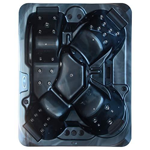 perfect-spa Whirlpool Atlanta Gecko Air Control Indoor/Outdoor 4 Personen Whirlpools Aussenwhirlpool Hot Tub Spa Außenwhirlpool Gecko Steuerung (Wanne SkyBlack, Außenverkleidung Schwarz)