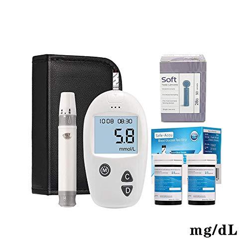 Dzwj misuratore glicemia, glucometro per glicemia con strisce reattive x 50 e lancetta x 50 incluso dispositivo pungidito,mg/dl