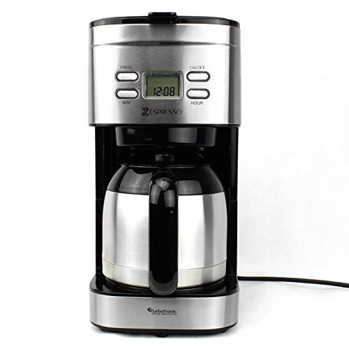 TurboTronic Edelstahl Kaffeemaschine mit Thermoskanne und Timer, Filterkaffeemaschine für bis zu 12 Tassen Kaffee (1,2L), inklusive Dauerfilter und Warmhalteplatte