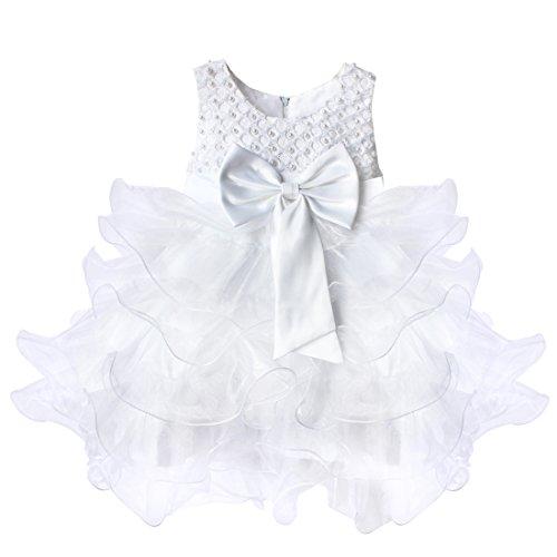 YiZYiF Baby Kleid Schleife Bowknot Blumenmädchenkleid Gr. 68-92 Hochzeit Kleinkind Verkleidung (68 (Herstellergröße:60), Weiß)