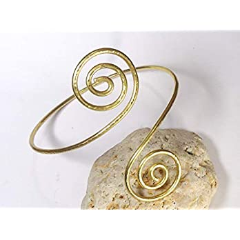 Oberarmreif Spirale, Oberarm aus Messing Massiv, Oberarmband Manschette,