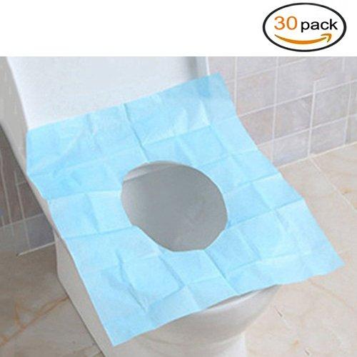 Usa e getta impermeabile di carta igienica coprisedili per camping viaggio bagno, blue, 30 pcs