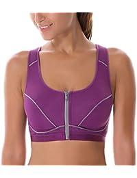 0f8772183a SYROKAN Women s High Impact Front Zipper Padded Wirefree X-back Sports Bra