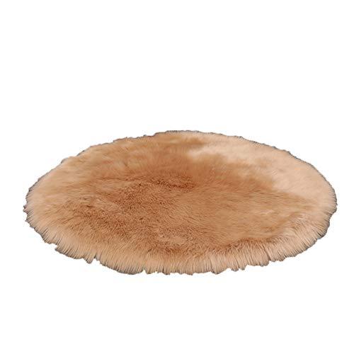 Teppiche Shaggy Faux Wolle Schlafzimmer/Wohnzimmer, Hellbrauner Runder, Verschiedenen Größen Erhältlich (größe : 40x40cm) -