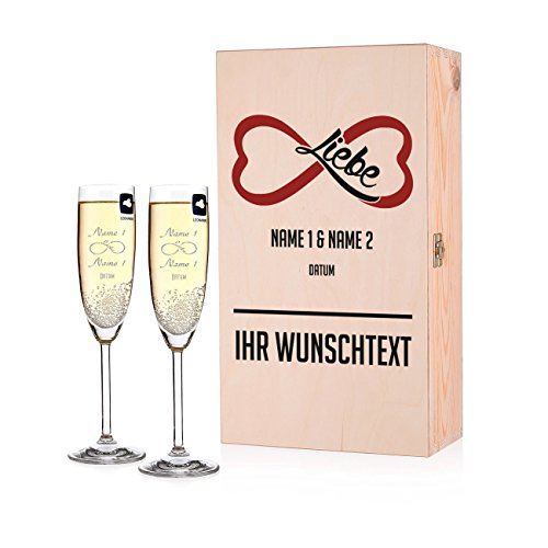 Leonardo 2 Sektgläser zur Hochzeit mit Gratis Gravur - Endless Love - in bedruckter Premium Geschenkbox