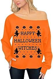 Spadehill Halloween Womens Skeleton Pumpkin Long Sleeve Off Shoulder Tops
