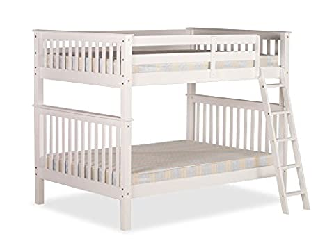 Happy Beds Malvern White Wooden Quadruple Sleeper Bunk Bed Furniture Bedroom with 2 Flex 1000 Orthopaedic Mattresses 4' Small Double 120 x 190