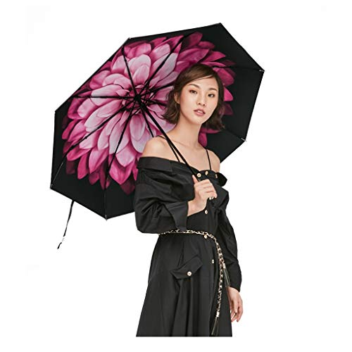 Sonnenschirm Sonnenschutz Kleiner Schwarzer Regenschirm Taschenschirm Weibliche