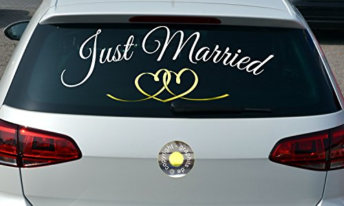 Aufkleber Just Married Herzen, jm1002, speziell für die Heckscheibe, Autoaufkleber,...