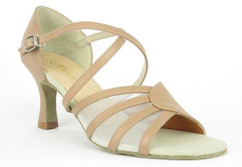 So Danca Latein Salsa Rumba Tango Tanz Schuhe BL 160 Chromledersohle, Absatz 6,4 cm caramel/nude