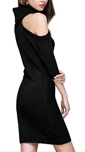MILEEO Chemise tricot sexy femme longue robe en cardigan avec l'épaule nu pull à col roulé pull-over en hiver Noir