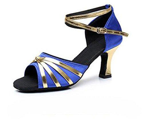KUKI Scarpe da ballo per donna con balli latini scarpe da ballo indoor da donna con tacco alto da 7 cm 4