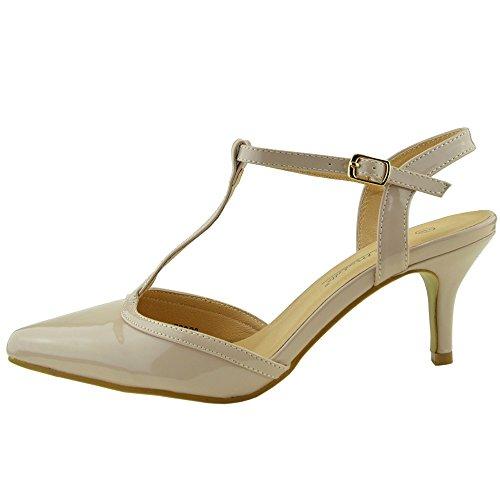 Kick Footwear - Donna Stiletto Tacchi A Spillo Di Nozze , Festa Strappy ,Scarpe Da Ufficio Nudo