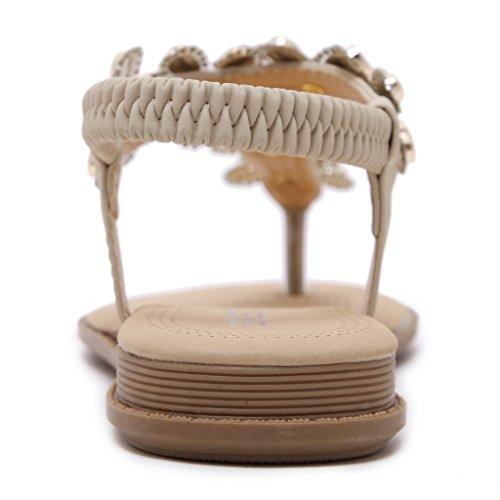 Fortuning's JDS Adatti strass perline fiore T-cinturino cinghia piatta sandalo Per Donne Beige
