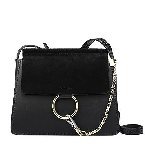 E-Girl Q0750 Women Leather Black Handbag Retro Top-Handle Bags Casual Fashion Shoulder Bag,10.2x2.8x8.7 L x W x H (inch)