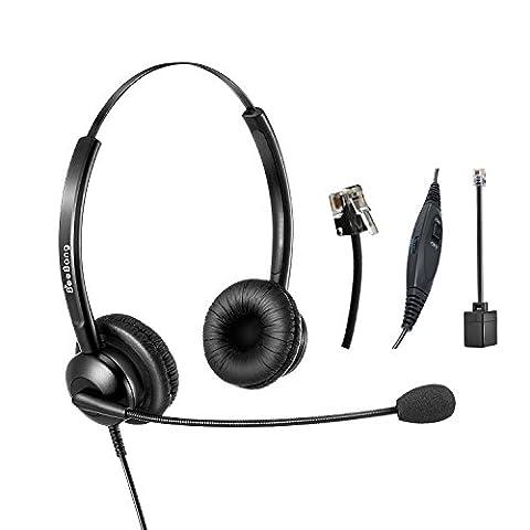 Beebang casque téléphonique Centre d'appel avec micro avec suppression de bruit filaire RJ9Binaural pour téléphone fixe Avaya Plantronics Polycom Siemens Snom Mitel NEC Nortel Aastra Alcatel Direct Connect