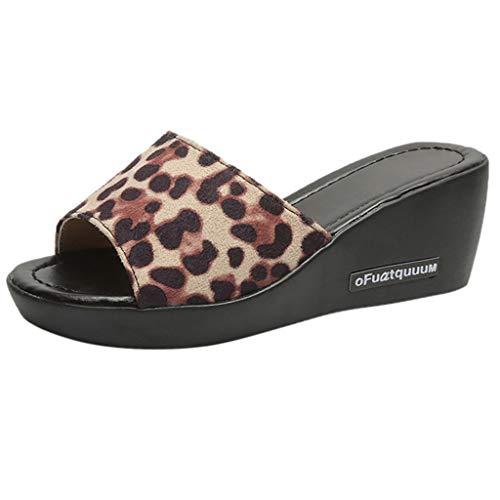 UOWEG Wedges Sandalen für Damen Peep Toe Breathable Leopard Beach Sandalen Rom Slip-On Casual Wedges Schuhe Leopard Patent High Heel