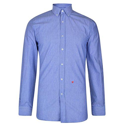 MOSCHINO Herren Hemd Formal Business Langarm Knopfleiste Besticktes Detail 11 Blu/TWht Stp L (41/42) (Blu-hemd)
