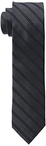 Calvin Klein Men's Mirror Double Stripe Slim Tie, Black, One Size