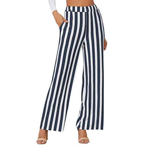 Damen Sporthose, ZIYOU Lang Freizeithose Frauen Ladies Gestreift Hosen Weite Beinhosen Elegant für Verschiedene Körperformen (Navy Blau, XL) -