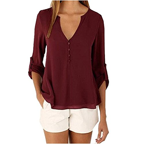 99b998735a5 usmley Women 3 4 Sleeve Chiffon Shirt V Neck Solid Color Blouse T-Shirt