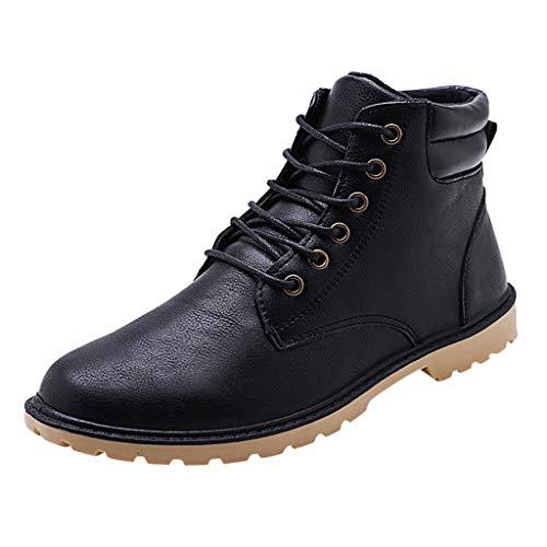 LGHOVRS Stivaletti Uomo Pelle Vintage Moda Casual Allacciare Stivali da Moto alla Caviglia Caldi più Ispessimento in Velluto All'Aperto Scarpe di Cuoio