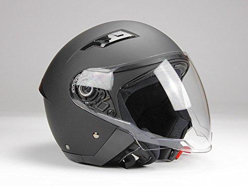 Jethelm mi Langvisier BNO Jet200 Motorradhelm Roller Helm Schutzhelm Matt Schwarz (XS-XXL) (L)