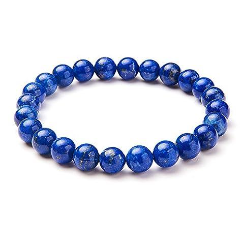 Sunnyclue Naturel véritable Lapis Lazuli pierres précieuses Bracelet stretch Perles rondes 8 mm environ 17,8 cm Unisexe