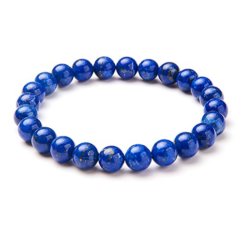 SUNNYCLUE Echte lapis-lazuli Edelsteine Armband Stretch Perlen rund 8 mm über 7' Unisex