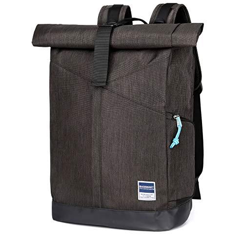 BAGSMART Laptop Rucksack Roll-Top Cityrucksack Daypack 22L für Laptop bis zu 15,6 Zoll, Schule Arbeit Reise, Dunkelgrau