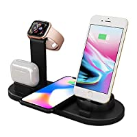 Multifunctional wireless charger bracket, Phone base with Qi wireless chargerfor iWatch 5/4/3/2/1 for Iphone 11 Pro Max 11 XS MaX XR X for airpods