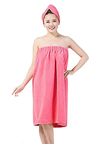 Women Wrap Towel Robe Spa Bathrobe Set Adjustable Chest Microfiber Bath Shower Cover up Dressing Gown with Dry Hat