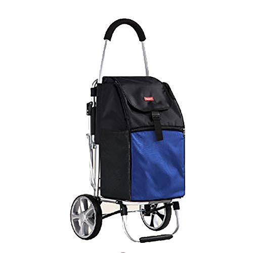 Einkaufstrolleys Mit Seat Hocker Einkaufswagen Alter Mann Kaufen Lebensmittelwagen Kleine Pull Cart Collapsible Trolley Car Portable Trailer (Farbe : Blau)