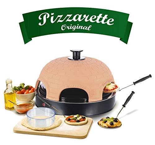 Emerio Pizzaofen, PIZZARETTE das Original, 1 handgemachte Terracotta Tonhaube, patentiertes Design, für Mini-Pizza, echter Familien-Spaß für 6 Personen, PO-115984