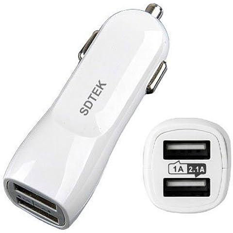 SDTEK Cargador de Coche Doble USB 2.1A para el iPhone 7, 6 / 6s, Plus, 5 SE 5s 5c, Aire iPad, Pro, Mini, Samsung Galaxy Note J5 S6 S7, Borde, Huawei Honor, Asus Zenfone, Sony Xperia y