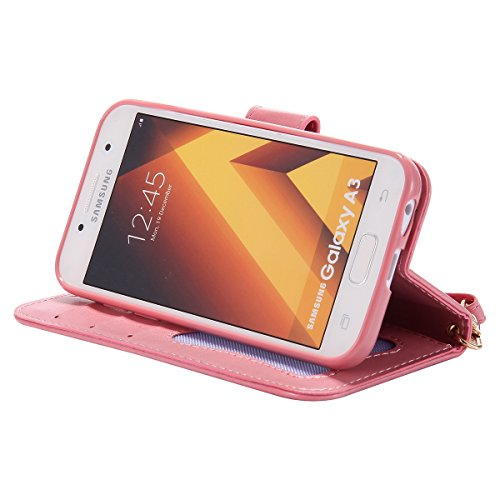 Custodia Galaxy A3 2017 - Cover per Samsung Galaxy A3 2017 - ISAKEN Fashion Agganciabile Luminosa Custodia con LED Lampeggiante PU Pelle Portafoglio Tinta Unita Cover Caso per Samsung A3 2017, Luxury  Rosa