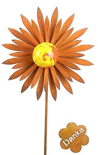 Gartenstecker Blüte Metall Rost Gartendeko Edelrost mit Glas (30cm Durchmesser)