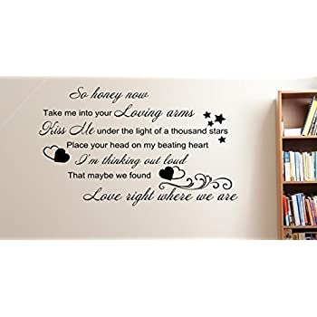 Ed sheeran thinking out loud song lyrics wall art sticker quote 16 colours